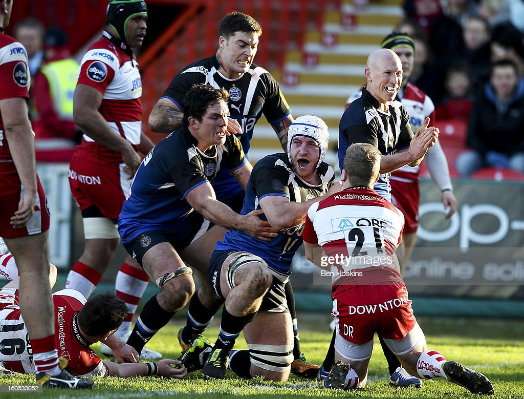 Mat Gilbert of Bath celebrates after scoring a try during the LV= Cup match between Gloucester and Bath at the Kingsholm Stadium on February 2, 2013 in Gloucester, England.