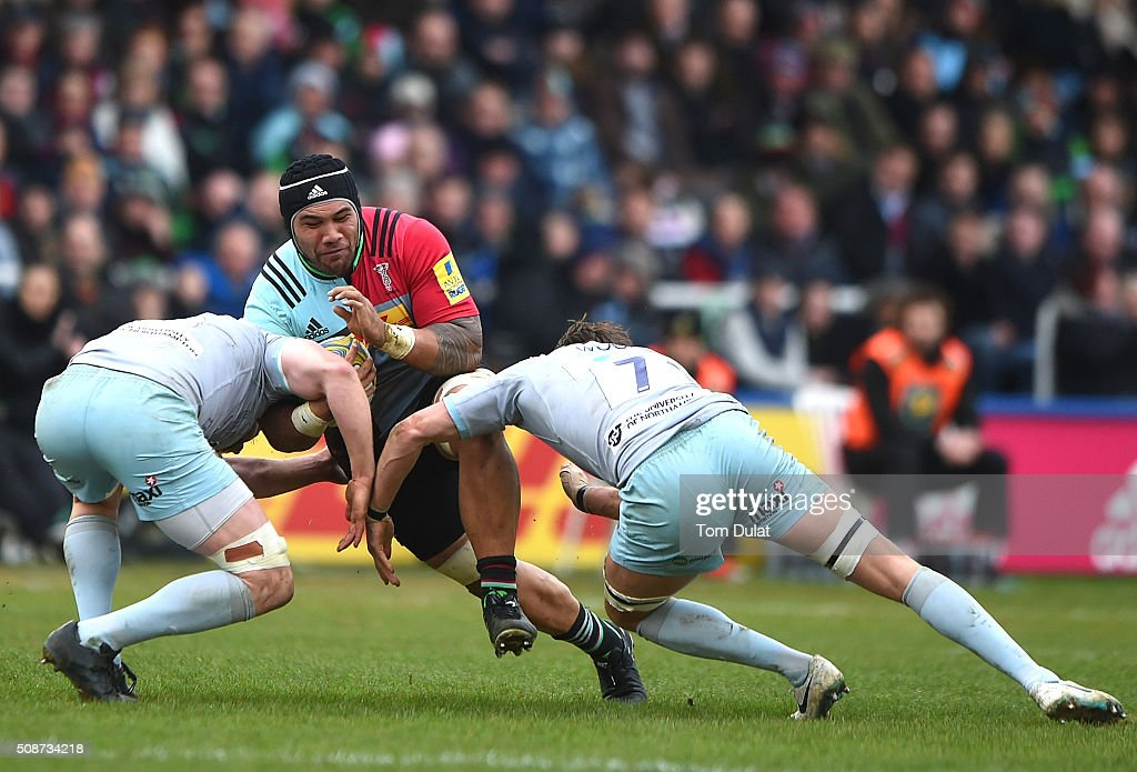 Mat Luamanu of Harlequins in action during the Aviva Premiership match between Harlequins and Northampton Saints at Twickenham Stoop on February 6, 2016 in London, England. (Photo by Tom Dulat/Getty Images).