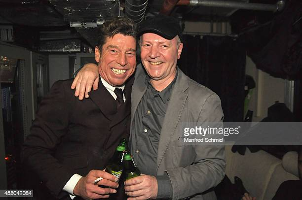 Mat Schuh and Christian Ludwig pose for a photograph during the Radio Wien Afterwork Clubbing at the Box on October 28 2014 in Vienna Austria