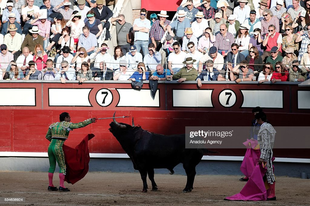 Matador Ivan Fandino (L) performs a pass to a bull during a bullfight, organized with attendance of the matadors Juan Jose Padilla and Jose Garrido at Las Ventas bullring in Madrid, Spain on May 26, 2016.
