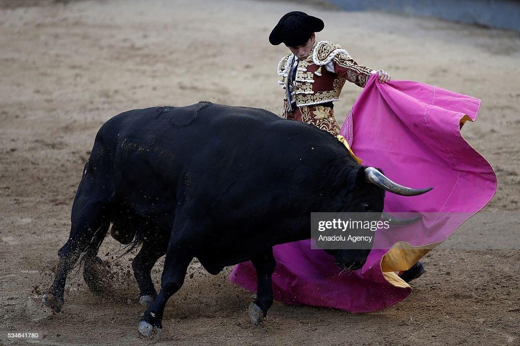 Matador Jose Garrido performs a pass to a bull during a bullfight, organized with attendance of the matadors Juan Jose Padilla and Ivan Fandino at Las Ventas bullring in Madrid, Spain on May 26, 2016.