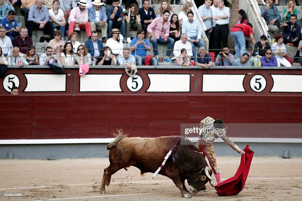 Matador Jose Garrido performs a pass to a bullduring a bullfight, organized with attendance of the matadors Juan Jose Padilla and Ivan Fandino at Las Ventas bullring in Madrid, Spain on May 26, 2016.