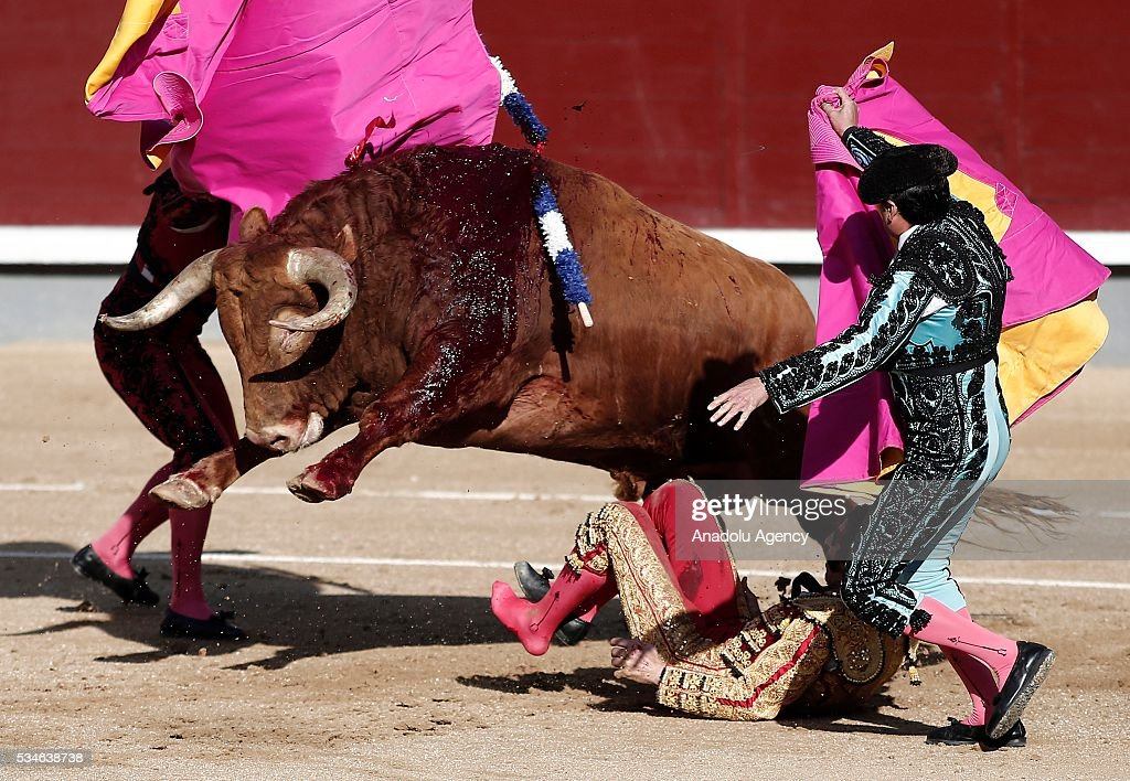 Matador Juan Jose Padilla (2nd R) is injured by a bull during a bullfight, organized with attendance of the matadors Ivan Fandino and Jose Garrido at Las Ventas bullring in Madrid, Spain on May 26, 2016.