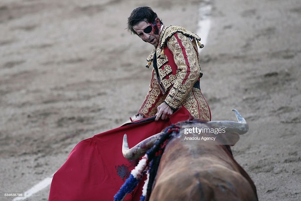 Matador Juan Jose Padilla is injured by a bull during a bullfight, organized with attendance of the matadors Ivan Fandino and Jose Garrido at Las Ventas bullring in Madrid, Spain on May 26, 2016.