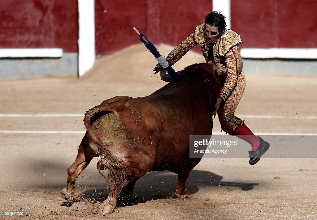 Matador Juan Jose Padilla is injured by a bull during a bullfight, organized with attendance of the matadors Ivan Fandino and Jose Garrido at Las Ventas bullring in Madrid, Spain on May 26, 2016.