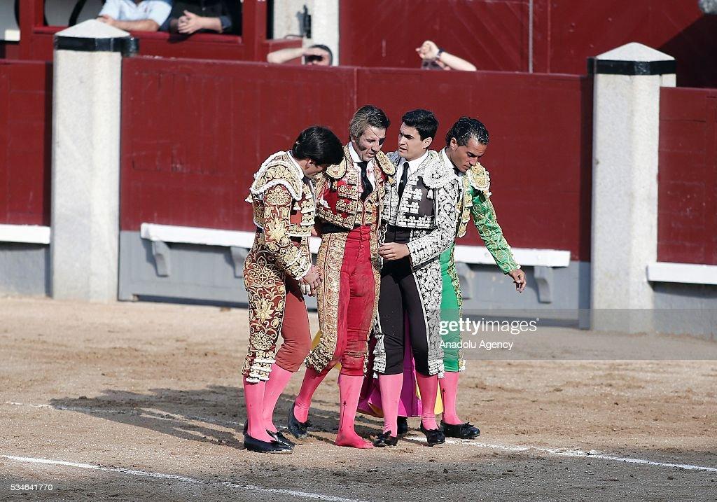 Matador Juan Jose Padilla (2nd L) is injured by a bull during a bullfight, organized with attendance of the matadors Ivan Fandino and Jose Garrido at Las Ventas bullring in Madrid, Spain on May 26, 2016.