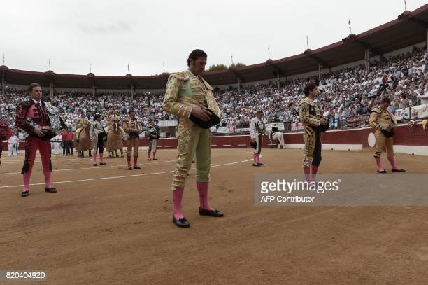 Matadors observe a minute of silence dedicated to late Spanish matador Ivan Fandino at Plumacon arena in MontdeMarsan southwestern France during the...