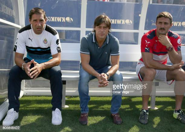 Matías Almeyda coach of Chivas looks on during the friendly match between Chivas and Santos Laguna at Cotton Bowl on July 02 2017 in Dallas Texas