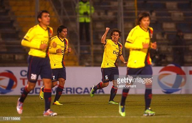 Matías Corujo of Cerro Porteño celebrates a scored goal during a match between Universidad Católica and Cerro Porteño as part of the Copa Total...