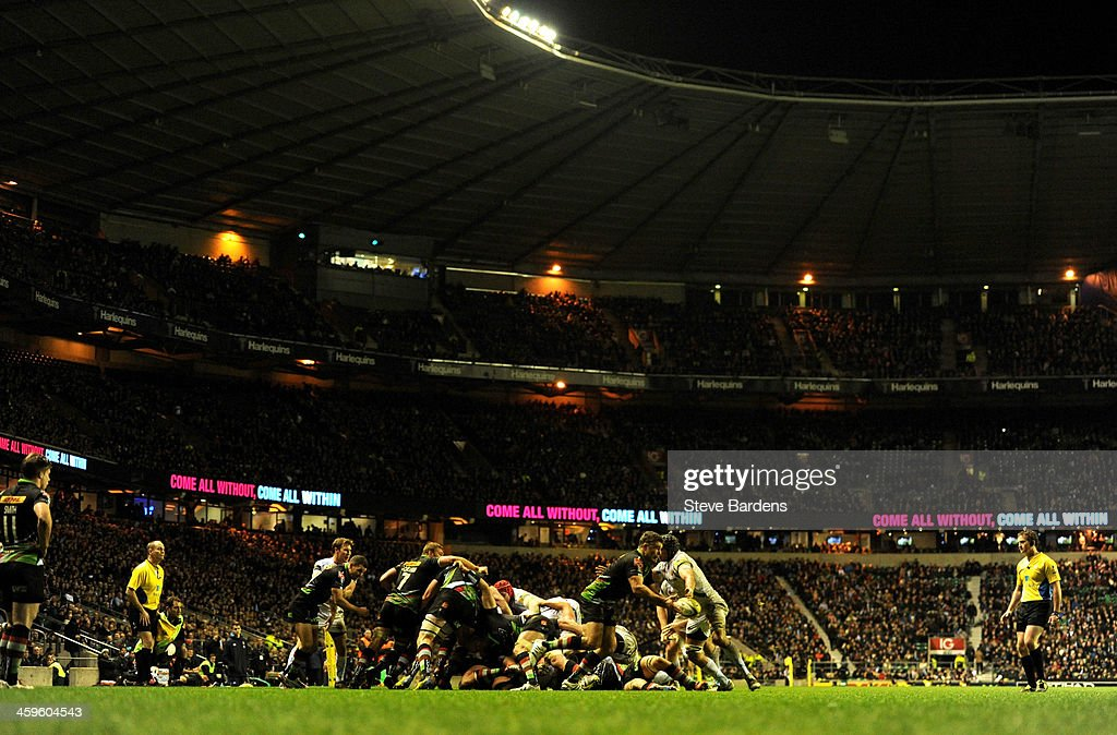 Match action at the Twickenham Stadium during the Aviva Premiership match between Harlequins and Exeter Chiefs at Twickenham Stadium on December 28, 2013 in London, England.