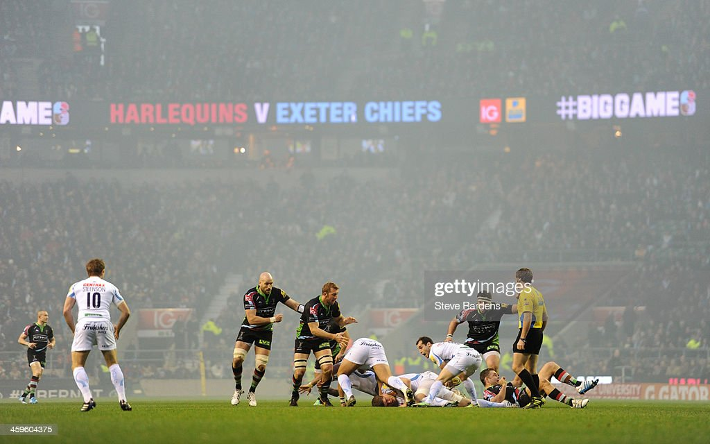 Match action during the Aviva Premiership match between Harlequins and Exeter Chiefs at Twickenham Stadium on December 28, 2013 in London, England.