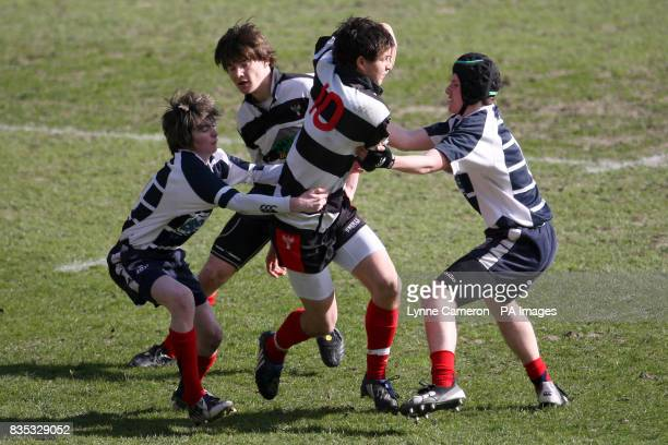 Match action from Dumfries against Musselburgh during the National Midi Cup finals at Murrayfield Stadium Edinburgh