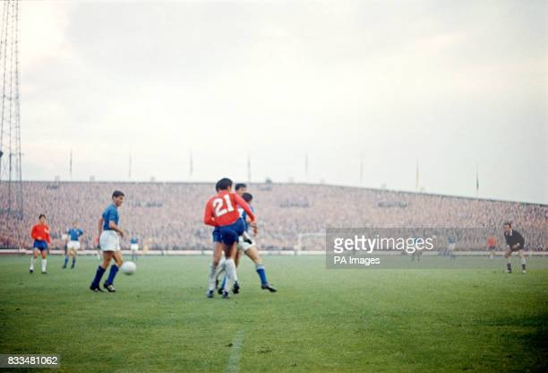 Match action from the Italy v Chile game at Roker Park