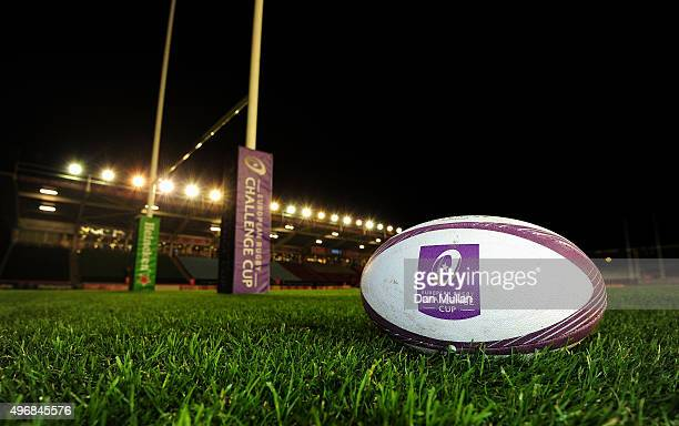 A match ball is displayed on the pitch prior to the European Rugby Challenge Cup Pool 3 match between Harlequins and Montpellier at Twickenham Stoop...