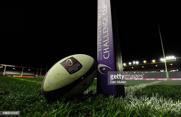 A match ball is displayed prior to the European Rugby Challenge Cup Pool 3 match between Harlequins and Montpellier at Twickenham Stoop on November...