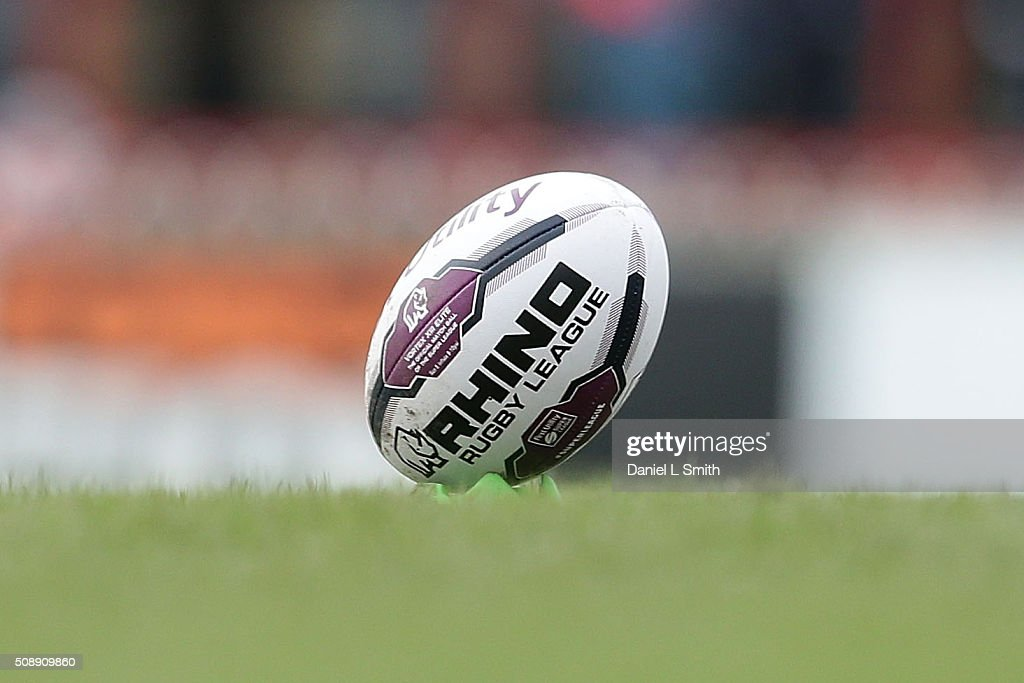 A match ball is propped prior to kick off in the First Utility Super League Round One match between Wakefield Wildcats and Widnes Vikings at The Rapid Solicitors Stadium on February 7, 2016 in Wakefield, England.
