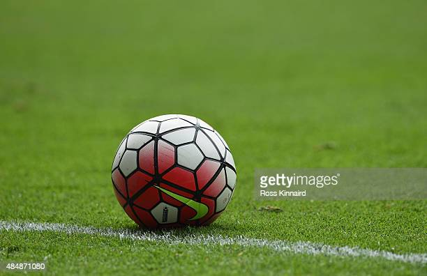 A match ball is seen during the Barclays Premier League match between Leicester City and Tottenham Hotspur at The King Power Stadium on August 22...