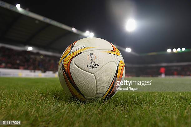 A match ball is seen prior to the UEFA Europa League round of 32 first leg match between FC Midtjylland and Manchester United at Herning MCH Multi...
