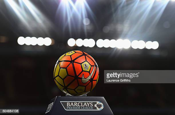 Match ball on display prior to the Barclays Premier League match between Aston Villa and Crystal Palace at Villa Park on January 12 2016 in...
