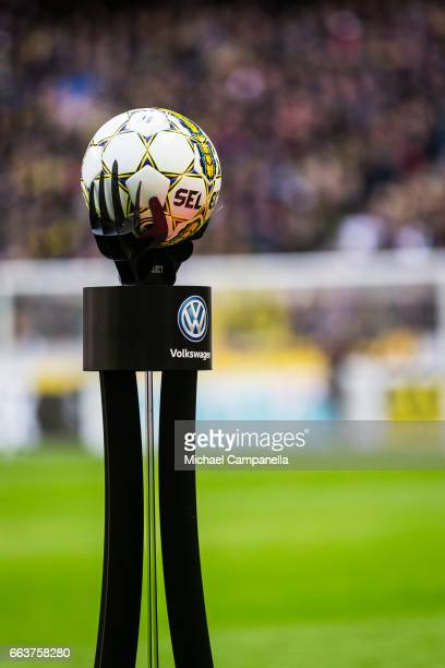 Match ball placed on a podium sponsored by Volkswagen during the Allsvenskan match between AIK and BK Hacken at Friends arena on April 2 2017 in...
