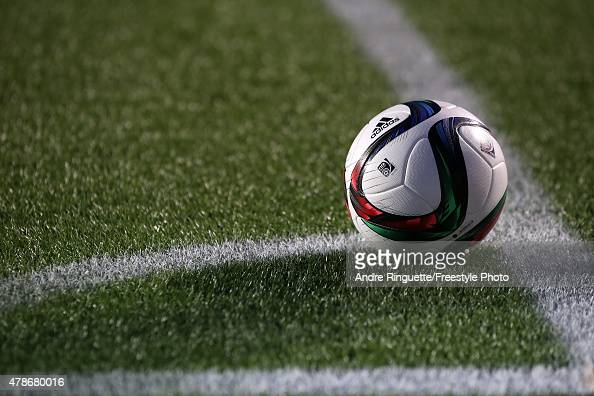 A match ball sits before a corner kick in the second half between China and the United States in the FIFA Women's World Cup 2015 Quarter Final match...