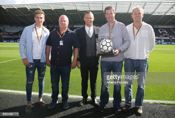 Match ball sponsors prior to kick off of the Premier League match between Swansea City and Manchester United at The Liberty Stadium on August 19 2017...