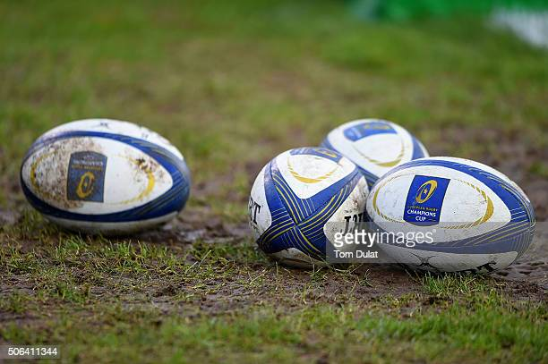 Match balls are pictured during the European Rugby Champions Cup match between Bath Rugby and RC Toulon at Recreation Ground on January 23 2016 in...