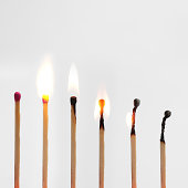 Match burning down image progressionon grey