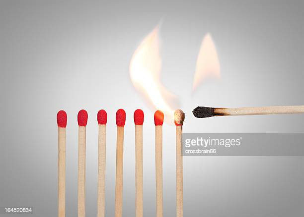 A match lighting the rest of the red matches
