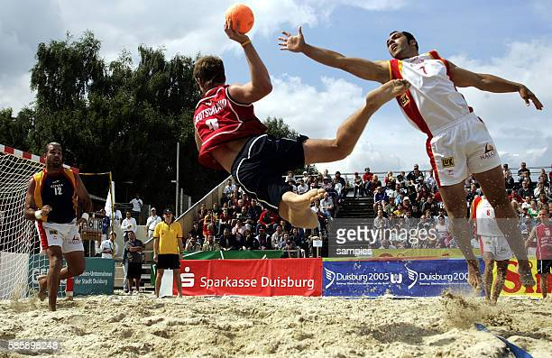 A match of Beach Handball during the World Games 2005 in Duisburg Germany