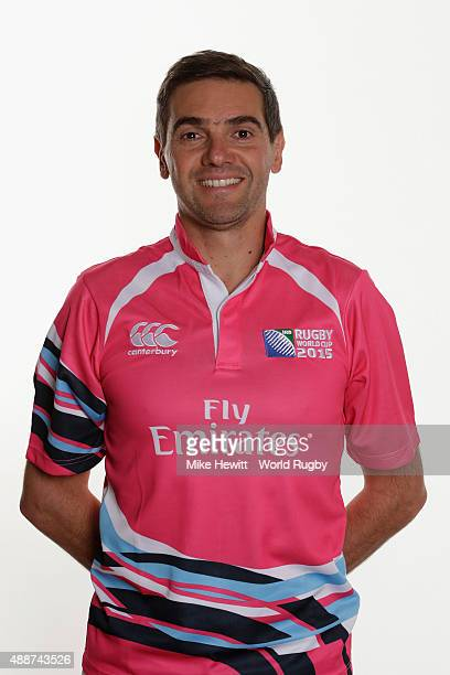 Match official Jerome Garces poses for a portrait during Rugby World Cup 2015 Match officials photo call at the Landmark Hotel on September 17 2015...