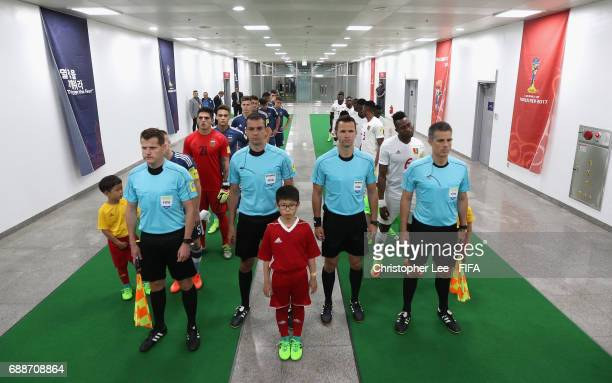 Match officials Gyorgy Ring Viktor Kassai Ivan Kruzliak and Vencel Toth prepare to lead the teams out during the FIFA U20 World Cup Korea Republic...