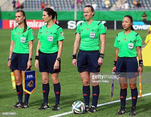 Match officials Natalie Aspinall of Great Britain Salome Di Iorio of Argentina Margaret Domka of the United States and Mayte Chavez of Mexico lineup...