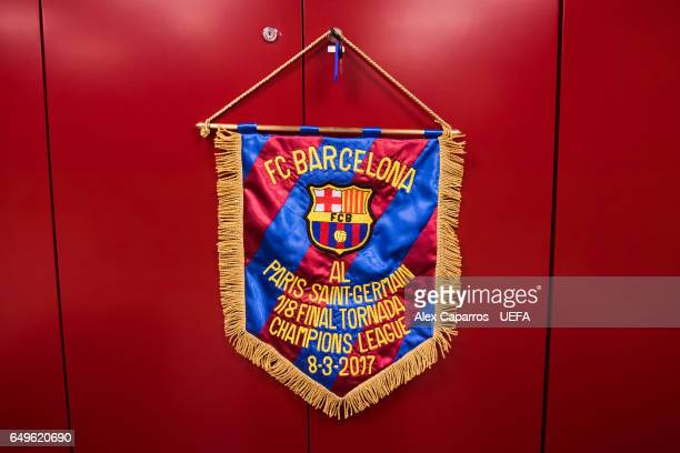 A match pennant is seen in the FC Barcelona dressing room ahead of the UEFA Champions League Round of 16 second leg match between FC Barcelona and...