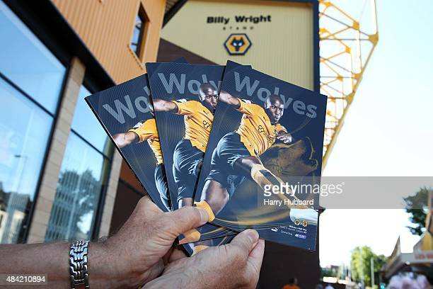 Match programmes are shown before the Sky Bet Championship match between Wolverhampton Wanderers and Hull City at Molineux on August 16 2015 in...