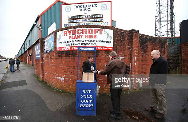Match programmes on sale ahead of the Budweiser FA Cup third round match between Rochdale and Leeds United at Spotland Stadium on January 4 2014 in...