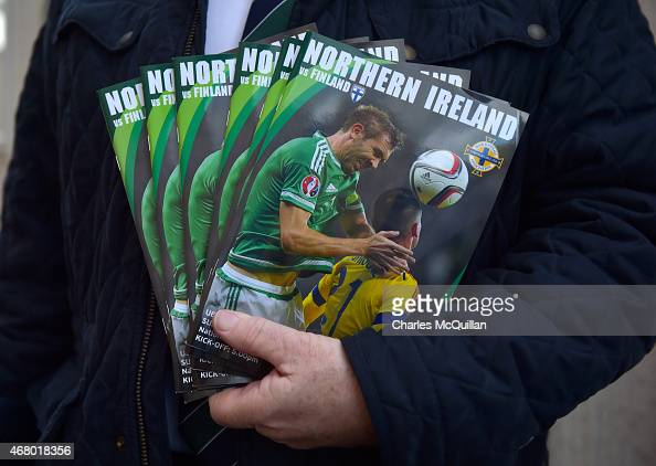 Match programmes on sale before the EURO 2016 Group F qualifier between Northern Ireland and Finland at Windsor Park on March 29 2015 in Belfast...