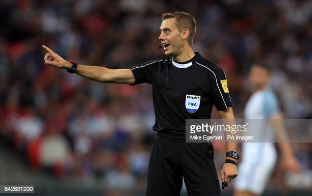 Match referee Clement Turpin during the 2018 FIFA World Cup Qualifying Group F match at Wembley Stadium London