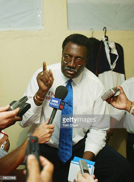 Match referee Clive Lloyd has a talk to journalists regarding Nasser Hussain of England during the second day of the Second Test between Sri Lanka...