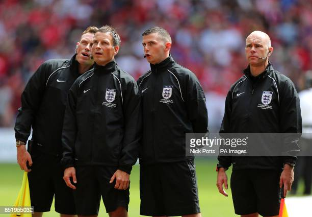 Match referee Mark Clattenburg fourth official Michael Oliver and assistant referees Mike Mullarkey and Scott Ledger