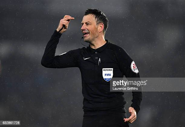 Match Referee Mark Clattenburg makes a decision during The Emirates FA Cup Fourth Round match between Derby County and Leicester City at iPro Stadium...