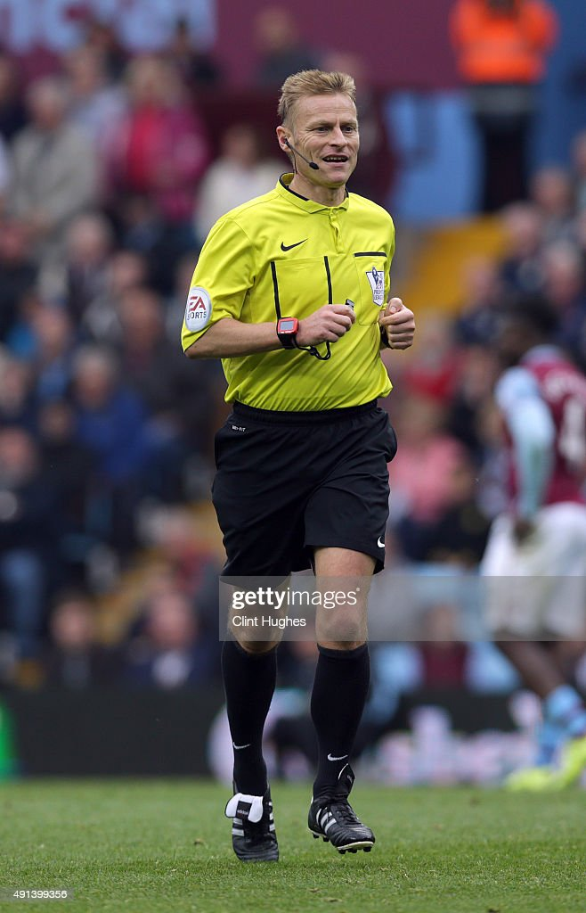 Match referee Michael Jones during the Barclays Premier League match between Aston Villa and Stoke City at Villa Park on October 3, 2015 in Birmingham, England.
