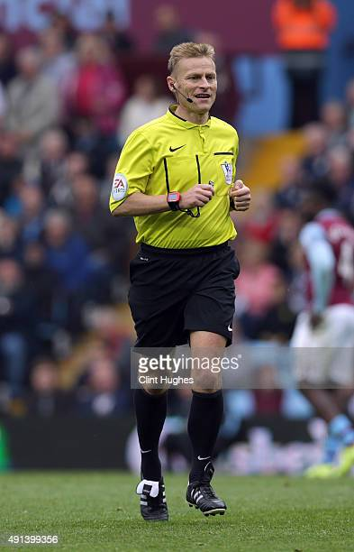 Match referee Michael Jones during the Barclays Premier League match between Aston Villa and Stoke City at Villa Park on October 3 2015 in Birmingham...