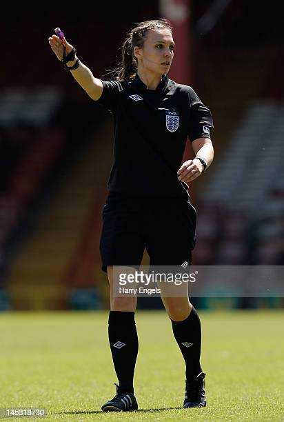 Match referee Natalie Walker in action during the FA Women's Cup Final between Birmingham City Ladies FC and Chelsea Ladies FC at Ashton Gate on May...