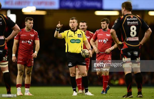 Match Referee Nigel Owens gestures to the players during the Guinness Pro12 match between Newport Gwent Dragons and Scarlets at the Principality...