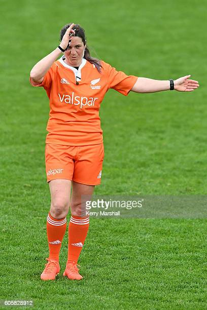 Match referee Rebecca Mahoney during the Jock Hobbs Memorial Under 19 Rugby match between Heartland and Tasman on September 15 2016 in Taupo New...