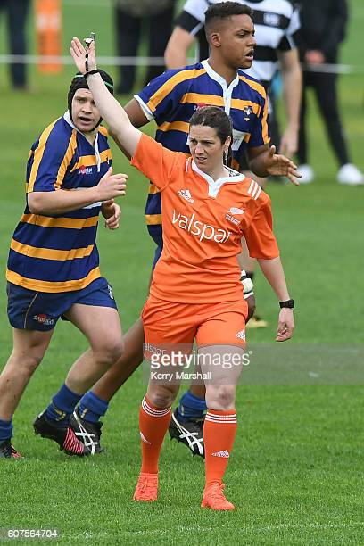 Match referee Rebecca Mahoney during the Jock Hobbs Memorial Under 19 Rugby Michael Jones Trophy Semi Final Hawke's Bay v Bay of Plenty on September...