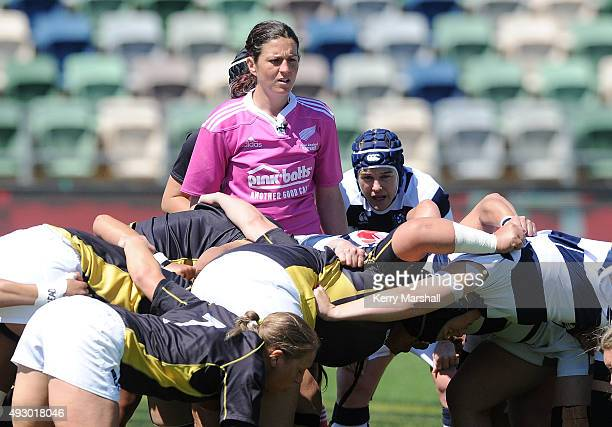 Match referee Rebecca Mahoney sets a scrum during the Women's Provincial Championship Final between Auckland and Wellington at McLean Park on October...