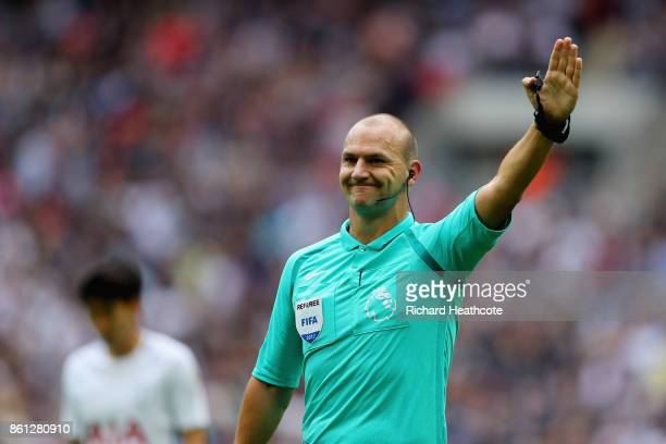 Match referee Robert Madley gestures during the Premier League match between Tottenham Hotspur and AFC Bournemouth at Wembley Stadium on October 14...