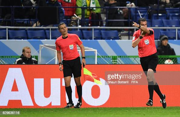 Match Referee Viktor Kassai awards a penalty for Kashima Antler after he used the video assistant referee to make the decision during the FIFA Club...